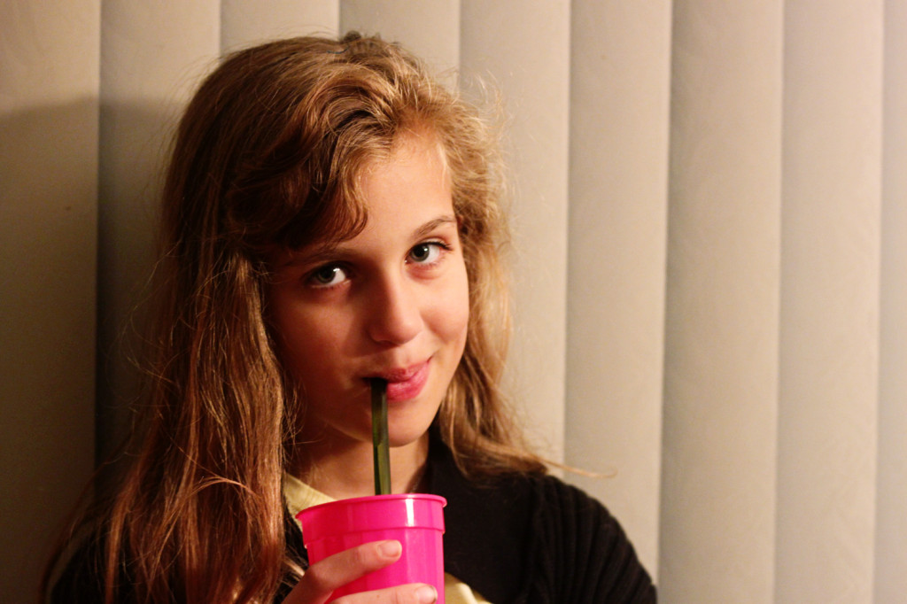 Hayley with her straw